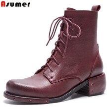 ASUMER rétro en cuir véritable bottes femmes talon carré à lacets automne hiver bottes dames robe bottines chaussures taille 34-42