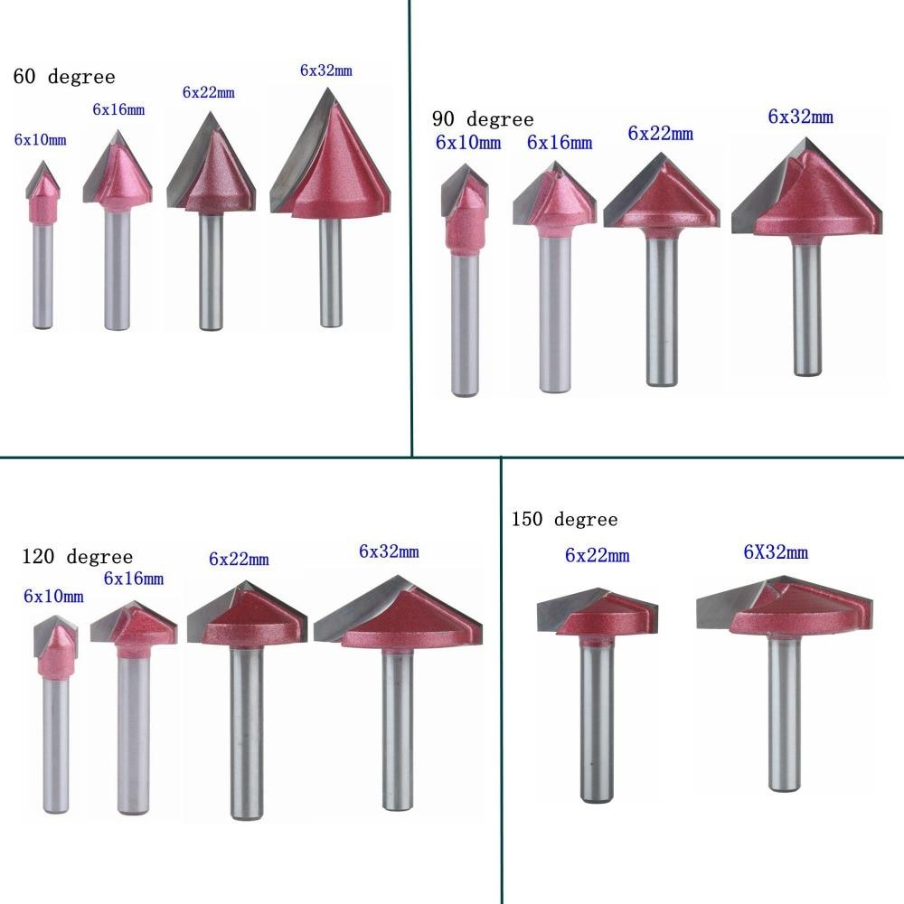 1pc 6mm haste v bit cnc fresa de carboneto sólido 3d roteador bits para madeira 60 90 120 150 deg tungstênio fresagem cutte