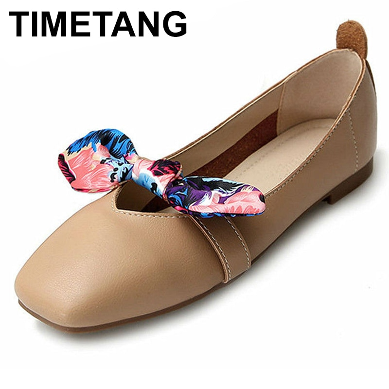 Zapatos planos TIMETANG de punta cuadrada de piel sintética para mujer, zapatos planos informales de verano, zapatos planos de talla grande para mujer con nudo de mariposa, zapatos deslizantes suaves e860