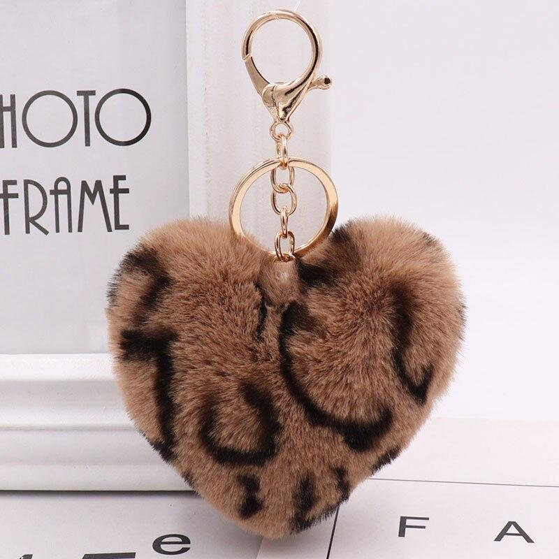 Heart Pompon Key chain Fluffy Rex Rabbit Leopard Print Key Rings Women Bag Car Keychain Charm Pendant pom pom holder Gift D835