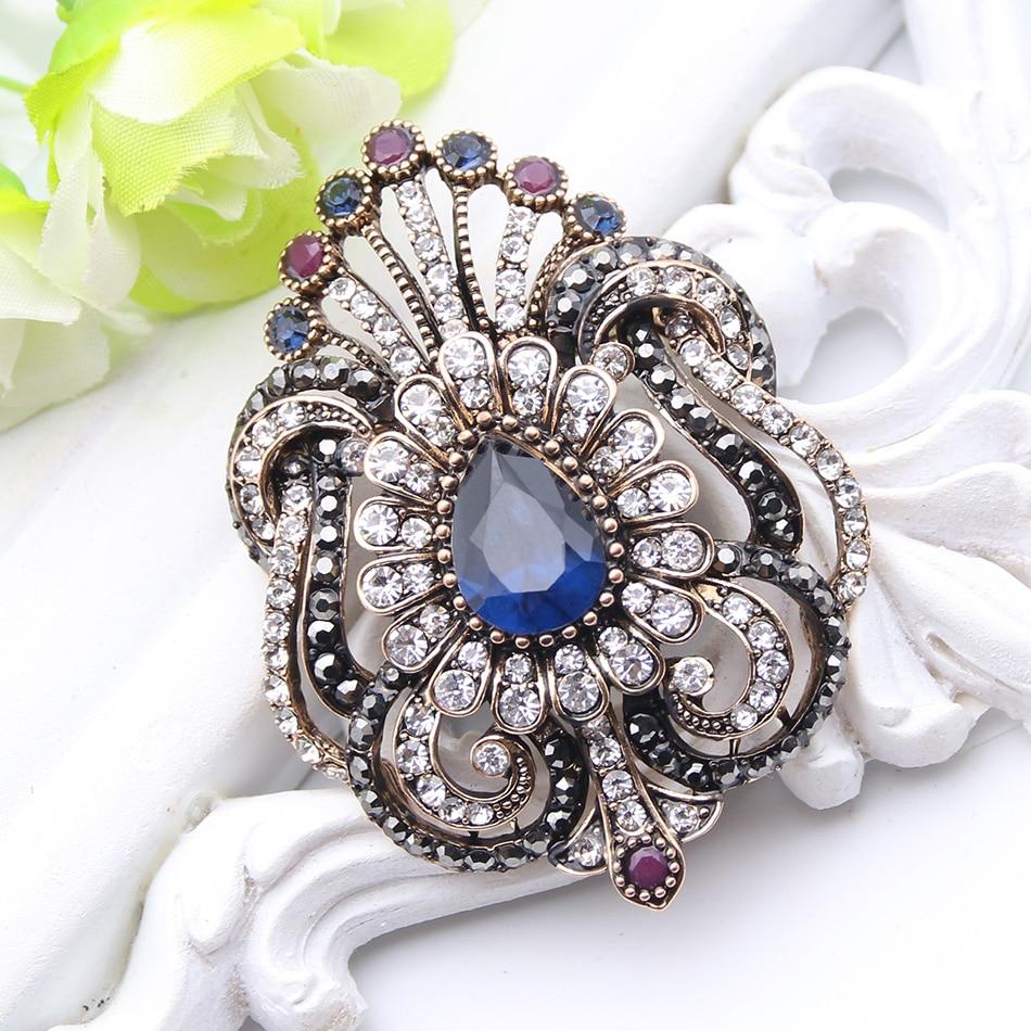 Joyería de moda para mujer broche turco azul Pavo Real brillantitos de cristal Broches señoras bufanda hijab Pins mejor regalo real