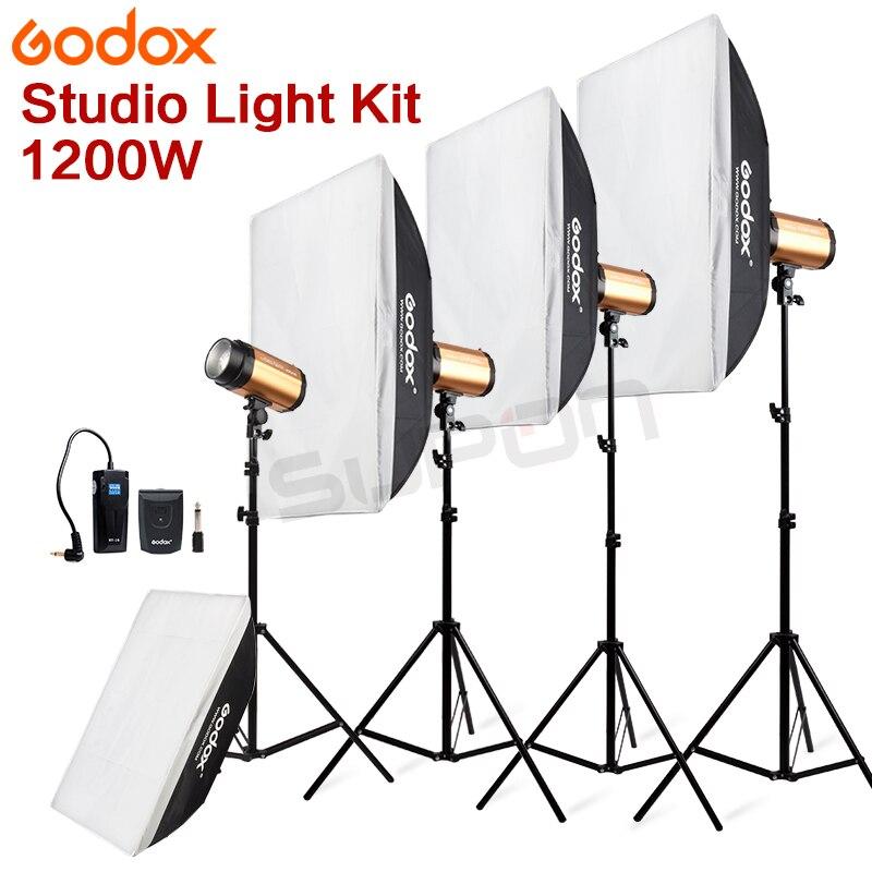 Pro GODOX-1200Ws 4*300Ws 300W 300SDI Studio ، ضوء ستروب ، مع صندوق إضاءة ناعم ، مجموعة 1200 واط