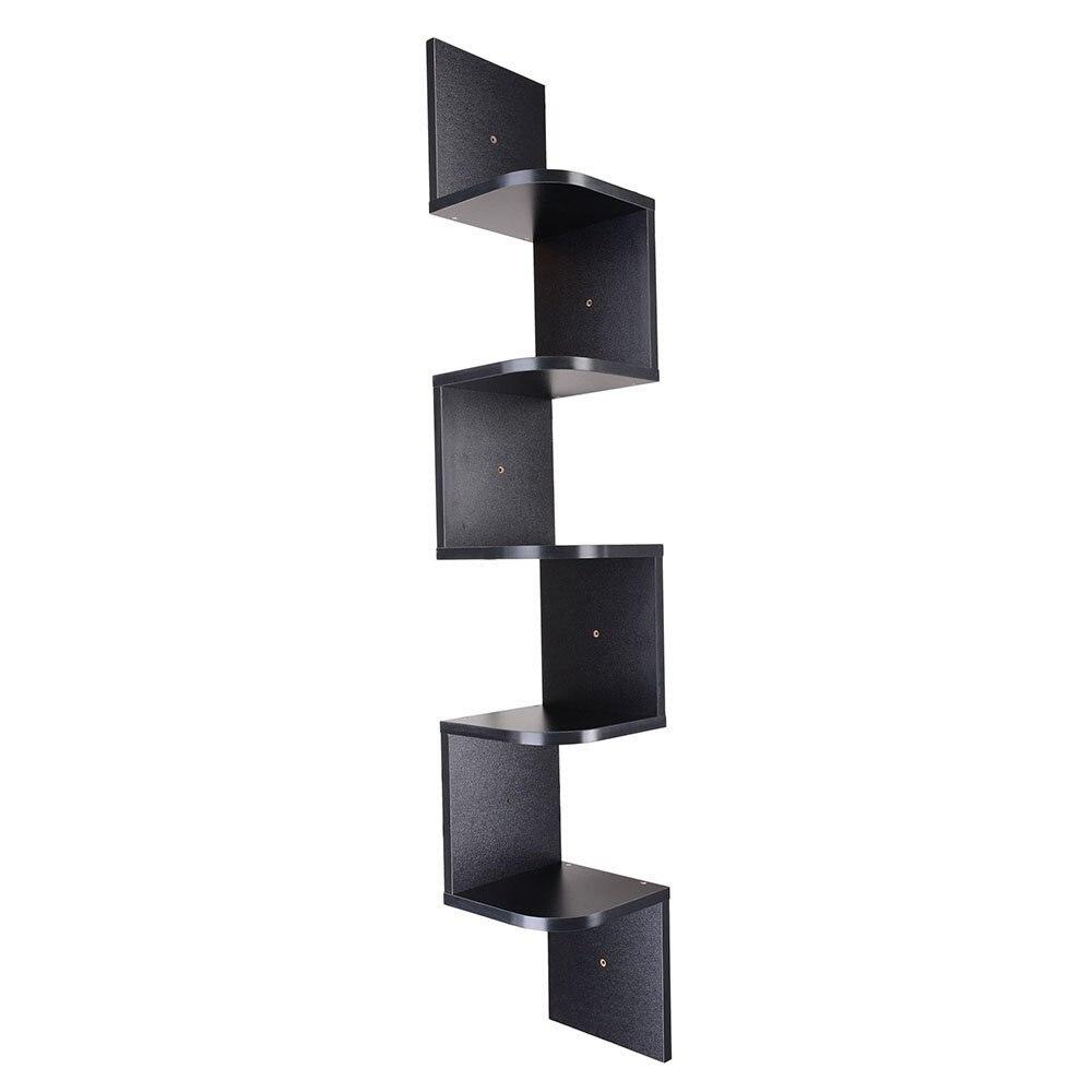 Estante apilable de 5 niveles de esquina de montaje en pared estante de esquina de pared estantes de cocina almacenamiento sala de estar baño organizador de pared de madera