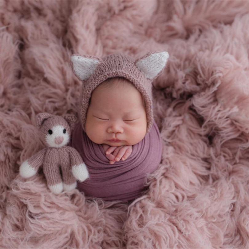 Rosa claro Grecia lana Flokati Natural grueso manta de lana rizada recién nacido posar tela de fondo Vintage bebé Niña Accesorios de piel
