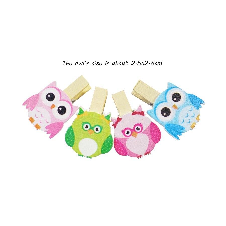 8 Pcs/lot Cartoon Owl Wooden Paper Clip Bookmark For Album Message Mini Natural Wooden Clips Craft Decoration Clips Pegs