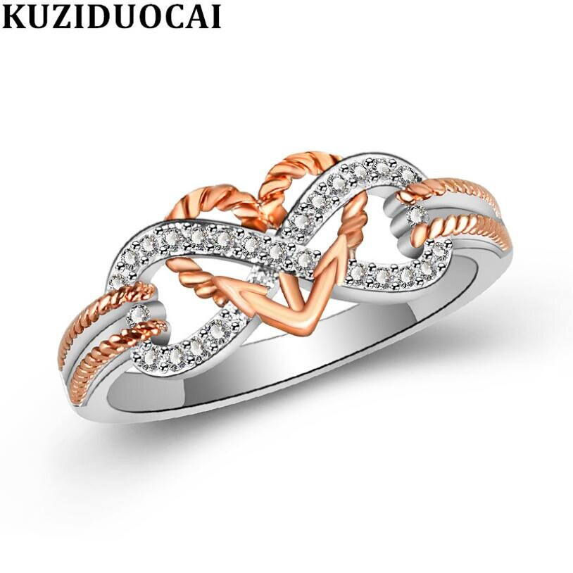 Kuziduocai nova moda jóias zircon aço inoxidável concêntrico nó ilimitado amor casamento noiva anéis de festa para mulher R-847