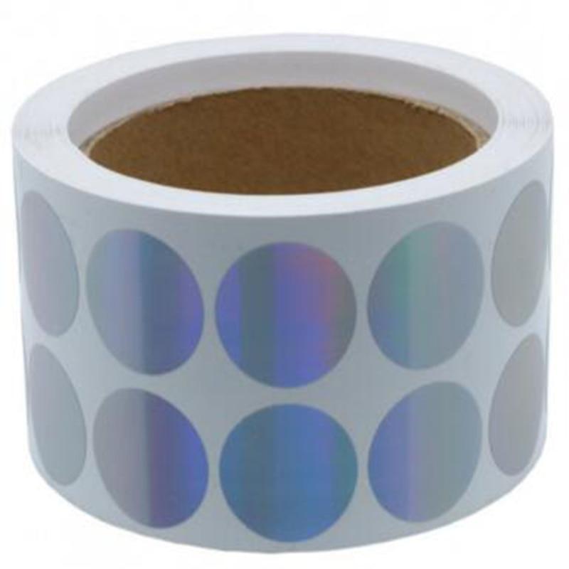 Etiqueta de código de cor de prata da etiqueta do alvo pontos pequenos holográficos redondos do ponto adesivos casca e vara reparados etiqueta decorativa da etiqueta