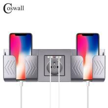 COSWALL двойной USB порт для зарядки 16A настенная французская Польша розетка стеклянная панель PC Панель матовый серый цвет