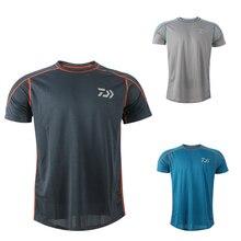 Daiwa, camisetas divertidas para hombre, camiseta de senderismo de verano Anti-UV, ropa de pesca de cuello redondo, transpirable, transpirable, camiseta de manga corta, Top