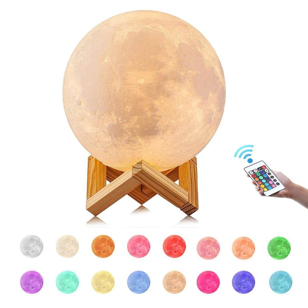 3D принт луна лампа дистанционное управление ночник 16 цветов Изменение 2018 Рождественские огни Детский новогодний подарок украшение детской...