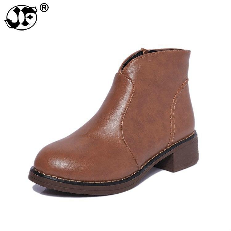 2019 botas de cuero para mujer gruesas Martin botas medio señoras zapatos Bota femenina botas de invierno 569