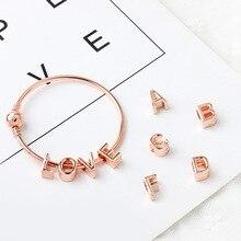 Yeni orijinal gül altın A-Z mektup alfabe kaplama boncuk alaşım Charms Fit Pandora bilezik ve bilezikler DIY takı