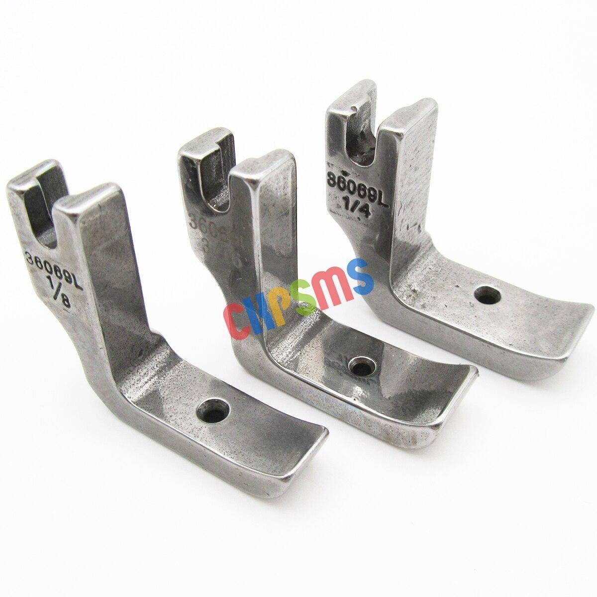# 36069l 1/8 + 3/16 + 1/4 alta haste sólida welt esquerda pés de tubulação apto para juki DDL-5550 8300 8500 8700