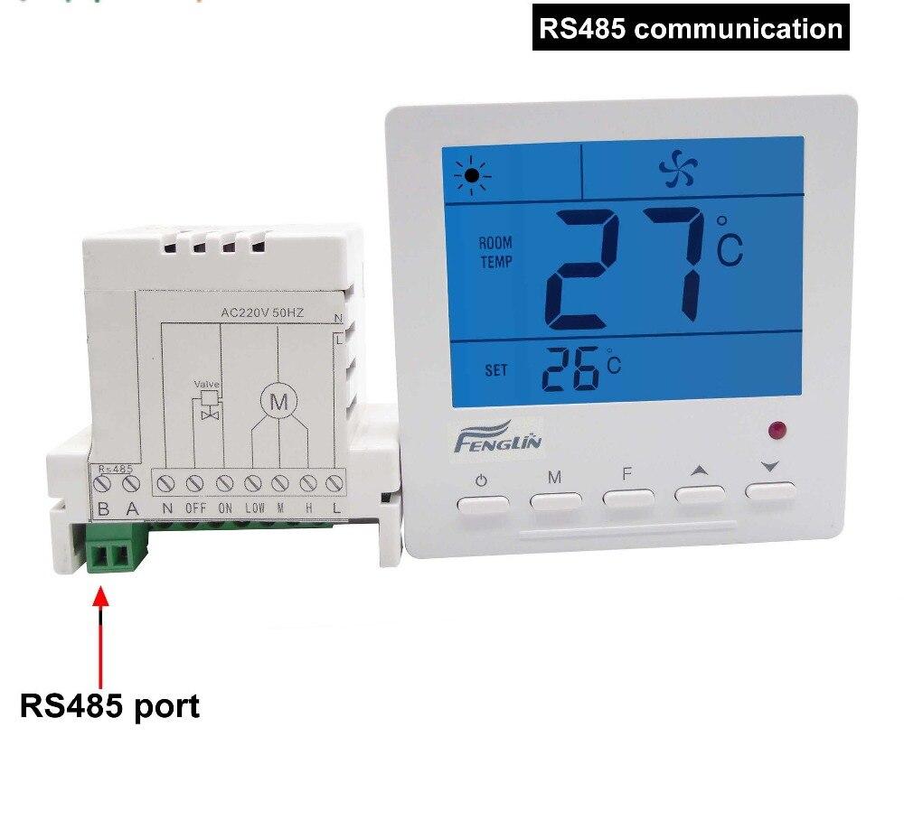 Controlador de temperatura del termostato Digital MODBUS RS485 con unidad de bobina de ventilador