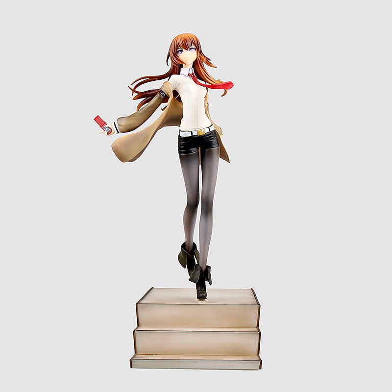 Anime Steins Gate Makise kurisu Stairs Ver PVC figura de acción coleccionable modelo muñeca juguete 25cm