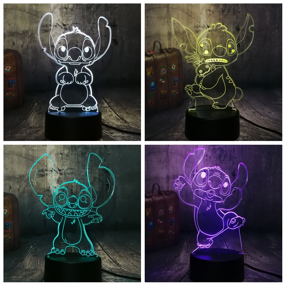 NEW 4 Design Cute Stitch Alien Dog Cartoon 3D LED Night Light 7 Color Baby Sleep Desk Lamp Home Decor Holiday Kid Christmas Gift