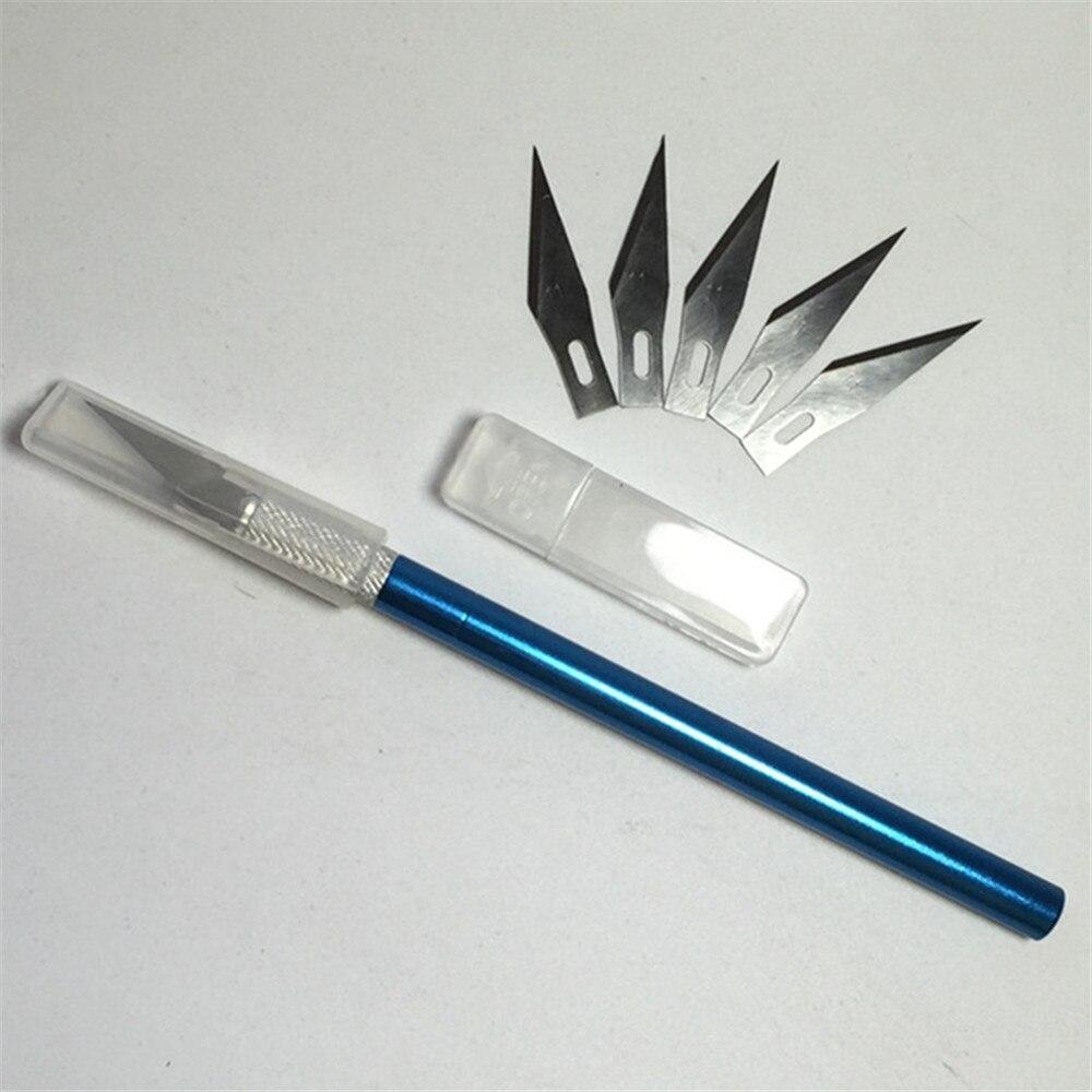 Инструмент для скальпеля с металлической ручкой, нож для гравировки, ножи для хобби + 6 лезвий для мобильного телефона, ноутбука, ремонта печатных плат, ручные инструменты