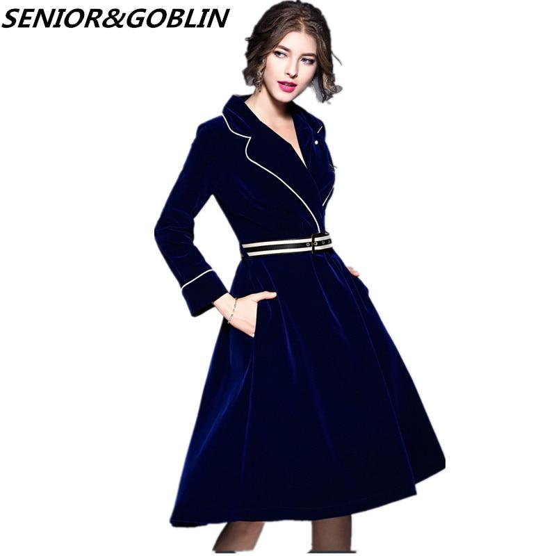 2019 de alta qualidade das mulheres azul escuro vestido de veludo outono feminino grande entalhado vestido de festa vestidos senhoras inverno casual midi