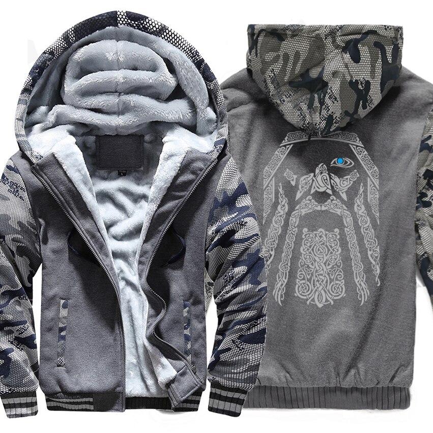 Sudadera de invierno, chaqueta con estampado de raglán, chándal Odín, sudaderas de Vikings para hombres, novedad de 2019, abrigos de manga de camuflaje con forro de lana a la moda