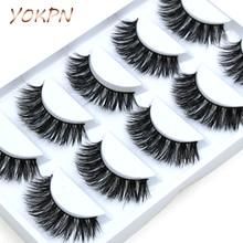 YOKPN 5 pairs Handmade Cotton Stalk Water Mink False Eyelashes Cross Messy Dense Natural Eye Lashes Stage Makeup False Eyelashes