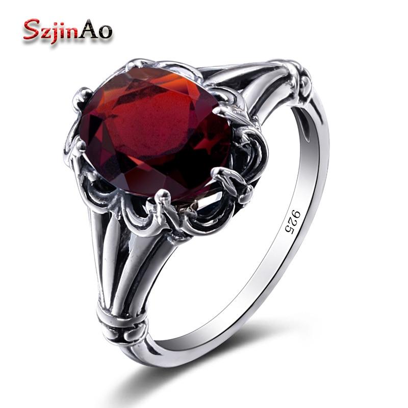 Szjinao Turkish Jewelry 100% 925 Sterling Silver Rings Oval Design Garnet Bohemian Handmade Victoria Wieck Rings For Women