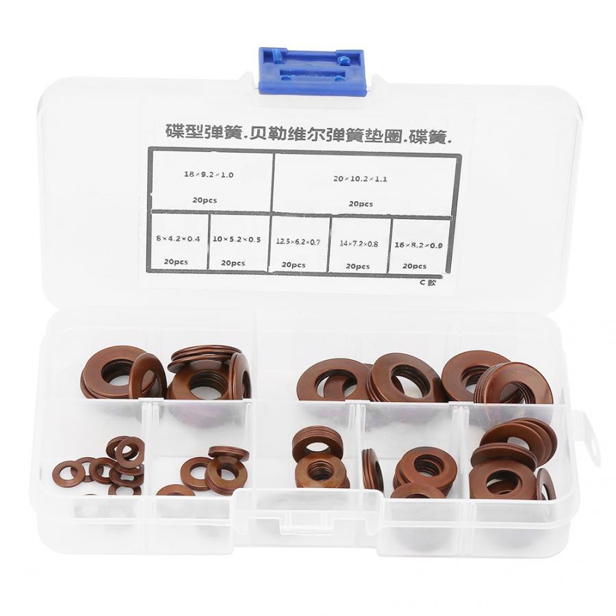 Junta de arandelas de acero junta de sellado de anillo plano Kit de surtido Belleville compresión de discos de resorte