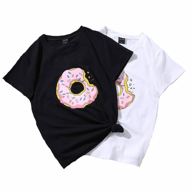2019 Verão Lazer T Camisa Tops Donuts Bonito Engraçado Harajuku Impressão Mulheres Tshirt Da Moda Kpop Estilo Casais Camisetas das Mulheres