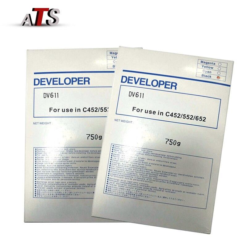 2 unids/lote 750G negro polvo desarrollador DV611 para Konica Minolta C 452 de 652 Compatible 552 C452 C652 C552 copiadora espaà a