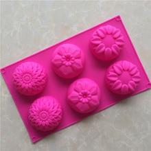 6 even 3 groups of flower shaped silica gel cake mold baking DIY handmade soap mold sunflower moon cake mould
