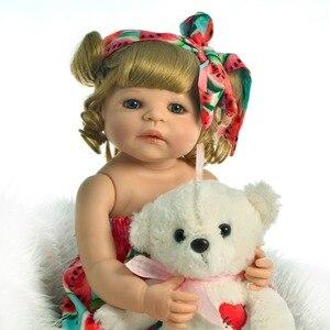 55CM Full Body SIlicone Reborn Babies Doll Bath Toy Lifelike vinyl Newborn Princess Baby Doll Bonecas Bebes Reborn Menina