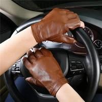 fashion goatskin half finger gloves men locomotive motorcycle semi finger genuine leather glove free shipping