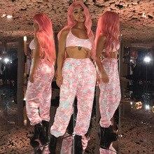 2018 Women  Harem Pants Autumn Elastic Casual Pants Female Workout Sporting Pants Camo Cargo HipHop Dance pink Camo Trousers