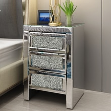 Preselling Panana Mirrored Crystal Glazen Nachtkastje 3 Lade Slaapkamer Kast Nachtkastje Snelle Levering