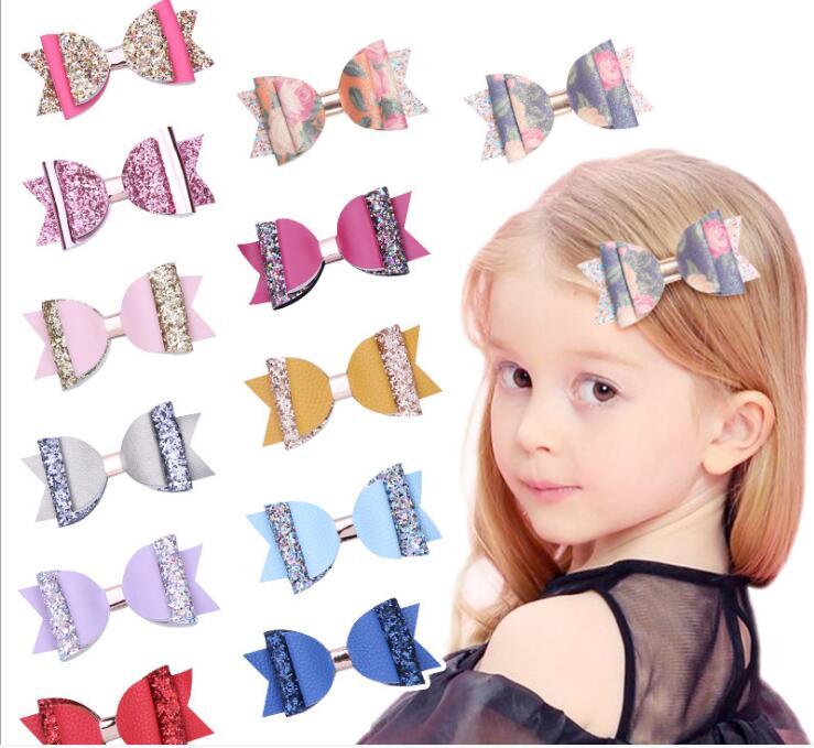 "Boutique de 4 ""de doble capa de lazos de pelo con purpurina niñas horquillas pelo Clips de cuero Bowknot Niños Accesorios para el cabello niñas 36 unids/lote"