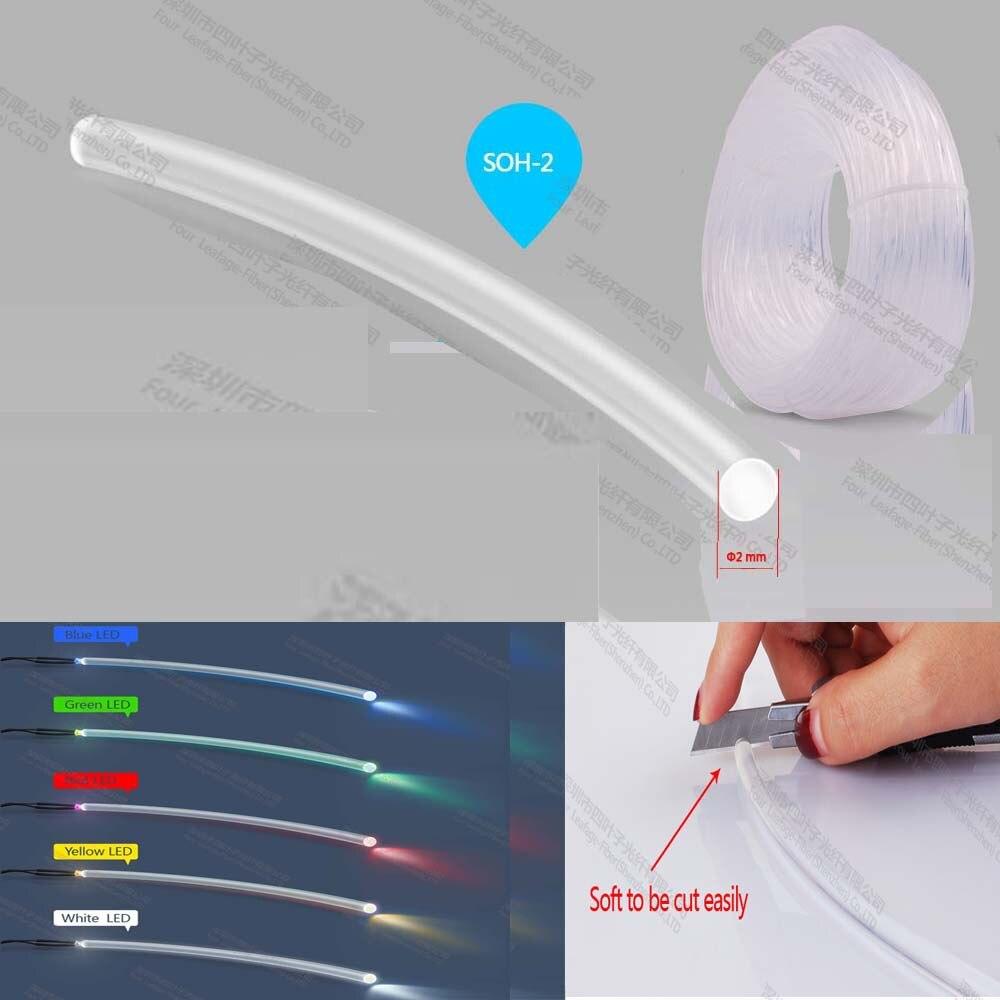Suave 2mm pmma end glow studio iluminación plástico fibra óptica para ordenador teclado ratón iluminación