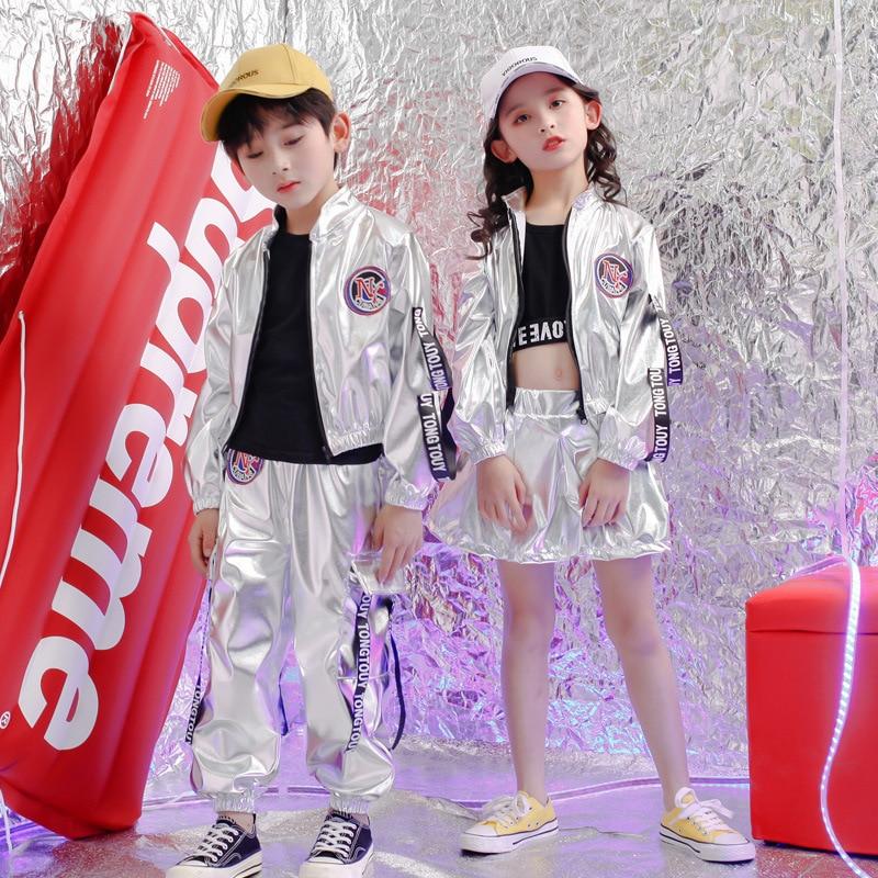 Trajes plateados de lentejuelas para Niñas para vacaciones, chaqueta de lentejuelas para niños, Chaleco Corto, pantalones cortos, 3 piezas, trajes de baile de escenario para niñas
