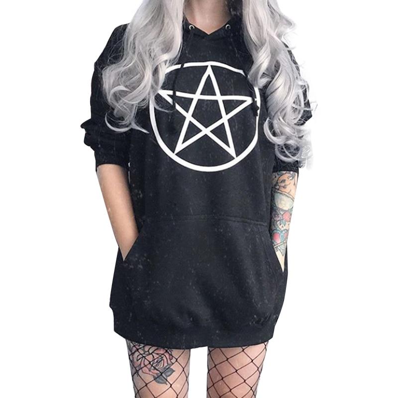 Gothic Pentagram Hoodies Women Sweatshirt Black Unisex Pullover Tumblr Hispter Casual Tops Dark Fahion Outfit