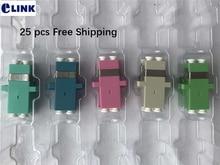 25 pces lc duplex adaptador sc dado forma sm mm om3 om4 apc fibra dx acoplador conector azul verde cinza aqua rosa livre shiping il <0.2db