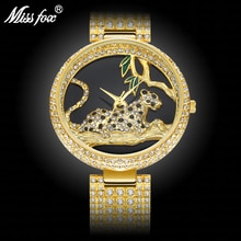MISSFOX Black Elegant Leopard In Tree Mk Stainless Steel Import Japan Movt Analog Fashion Gold Women
