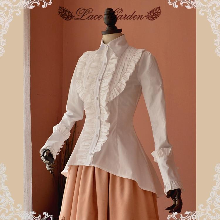 High Quality Spring Women White Shirt Ruffled Vintage Victorian Shirts Ladiesl Blouse Lolita Costume