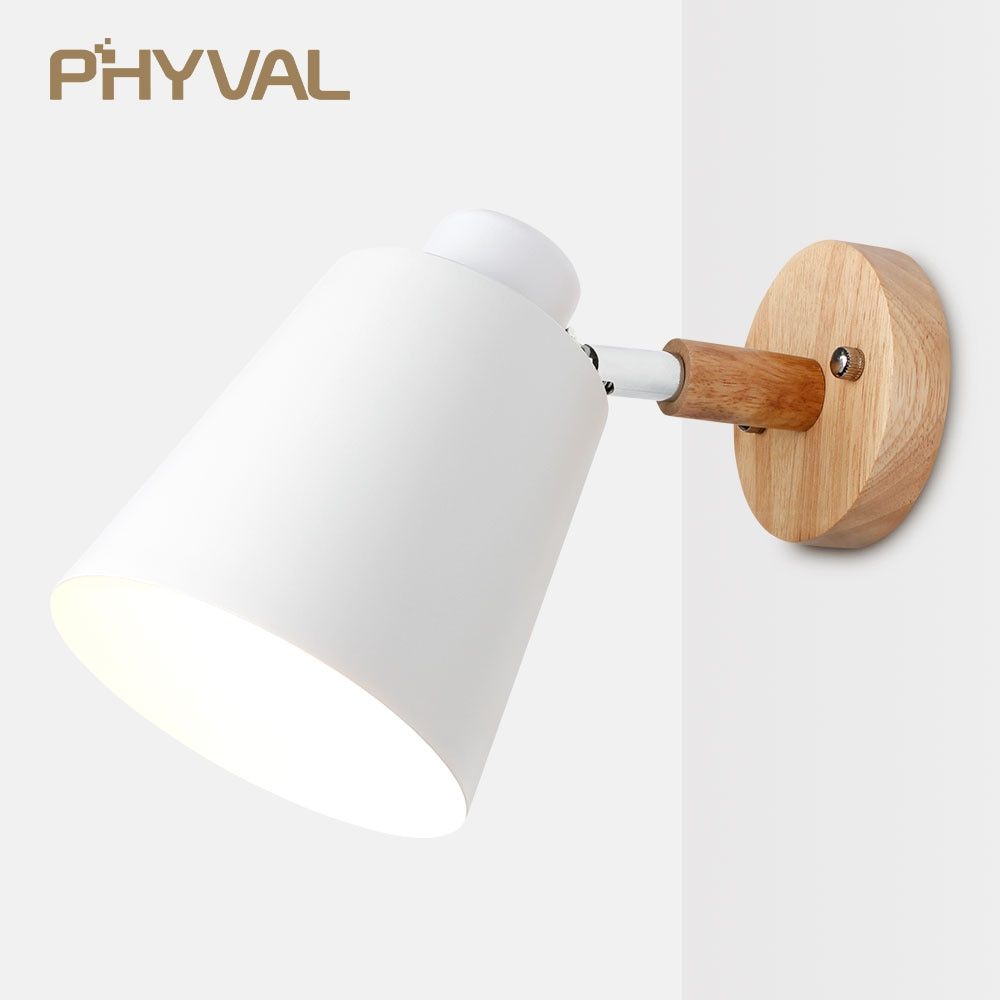 wooden wall lights bedside wall lamp wall sconce modern wall light for bedroom Nordic macaroon 6 col