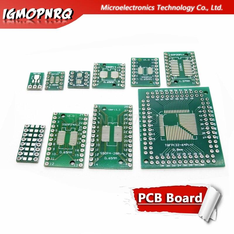 A placa do pwb de 10 pces smd volta para mergulhar sop msop ssop tssop sot23 8 10 14 16 20 24 28 smt para dip a placa do conversor do adaptador Circuitos integrados    -