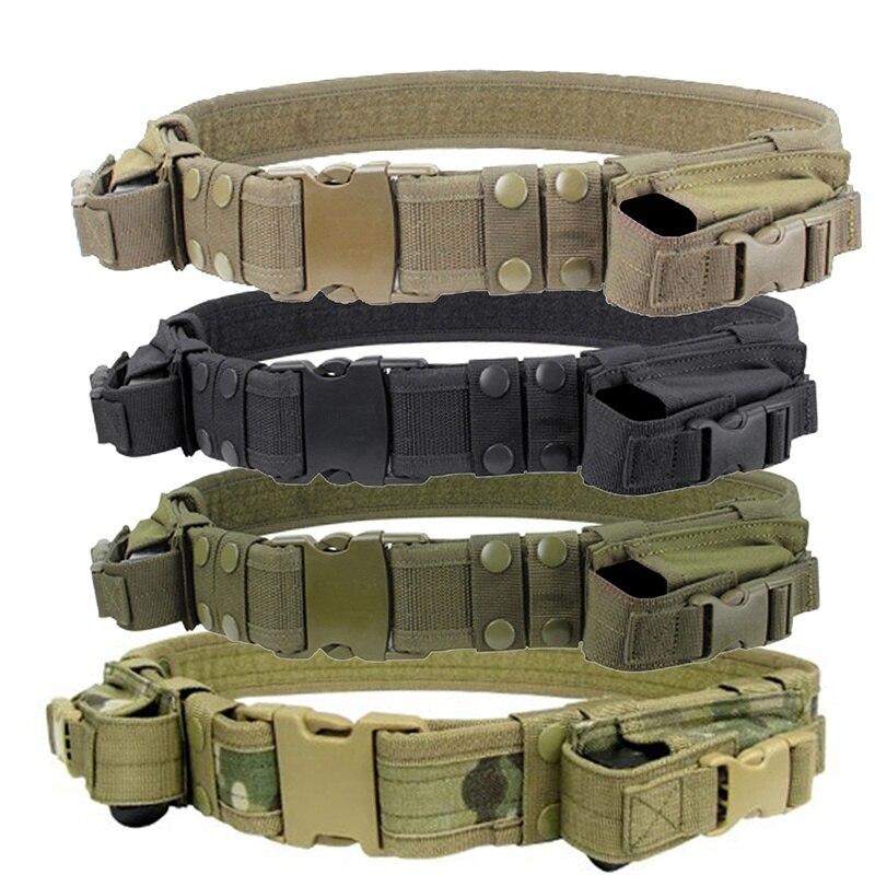 ¡Novedad de 2018! 1 pieza de cinturón de deber táctico de combate policial SWAT pistola revista bolsa al aire libre táctico cinturón de entrenamiento