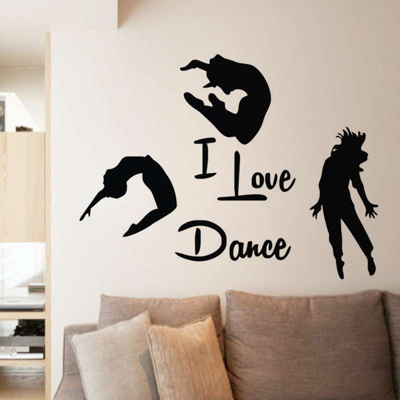 Наклейки на стену «I Love Dance», домашний декор, три танцора, настенные росписи, клейкие виниловые наклейки на стену спальни, украшения