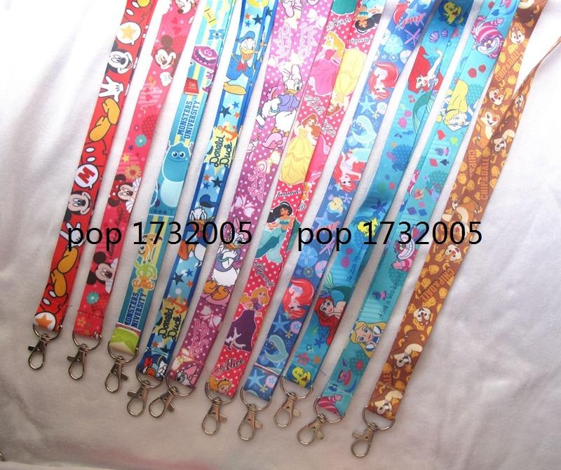 New 30 Pcs  cartoon princess mickey minnie duck alice cat mix  Key Chains Neck Strap Keys  Lanyards Free Shipping  DD-81