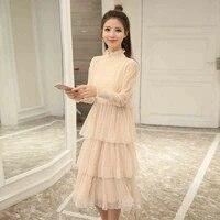 2019 autumn long sleeve long big girls dress black gray beige teenage girl clothes14 16 15 years old korean fashion lace vintage