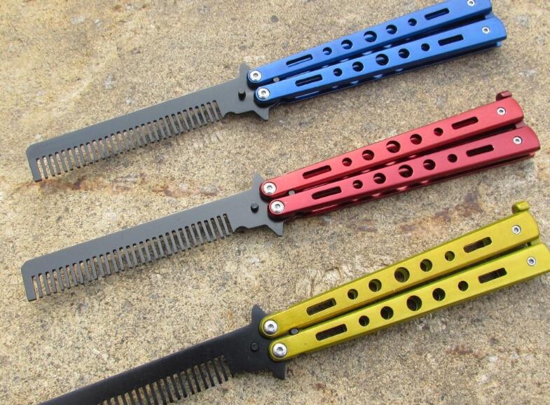100 piezas de acero inoxidable entrenamiento de práctica mariposa estilo cuchillo peine deporte fresco