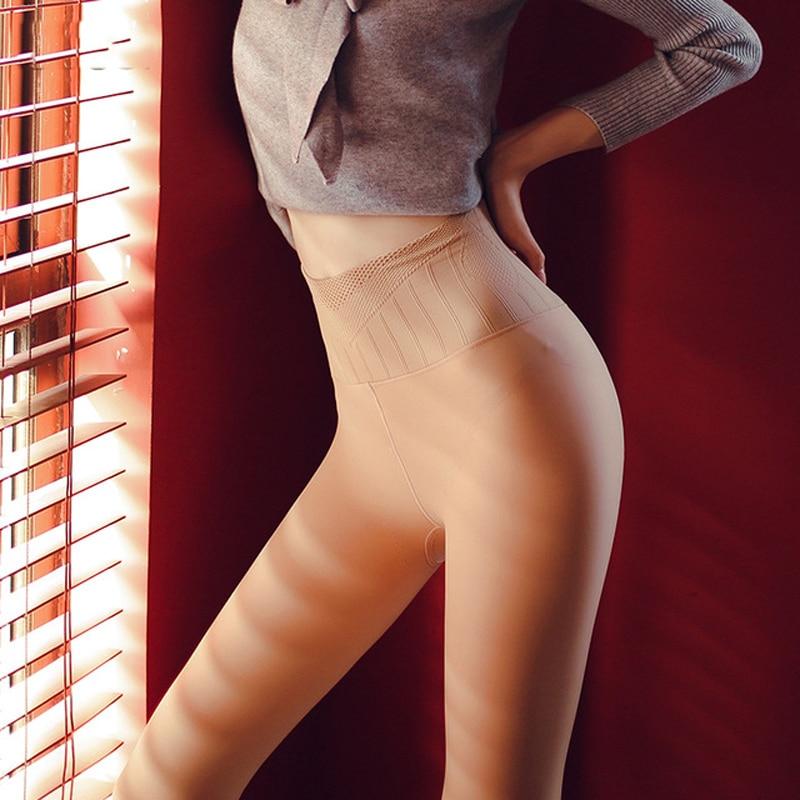 Pantimedias de invierno de color negro de piel espesar medias de cintura alta transparente sexy medias calientes gruesas para niñas medias 591