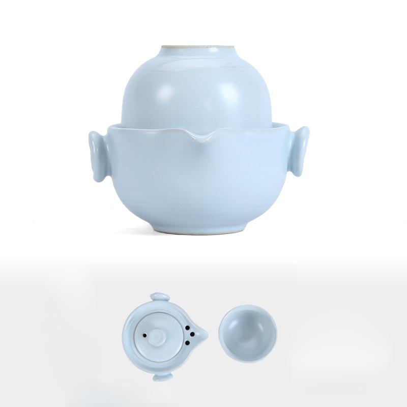 El juego de té de viaje portátil de cerámica incluye 1 olla 1 taza, tetera hermosa y fácil, tetera de kung fu, taza gaiwan de pasajeros rápida