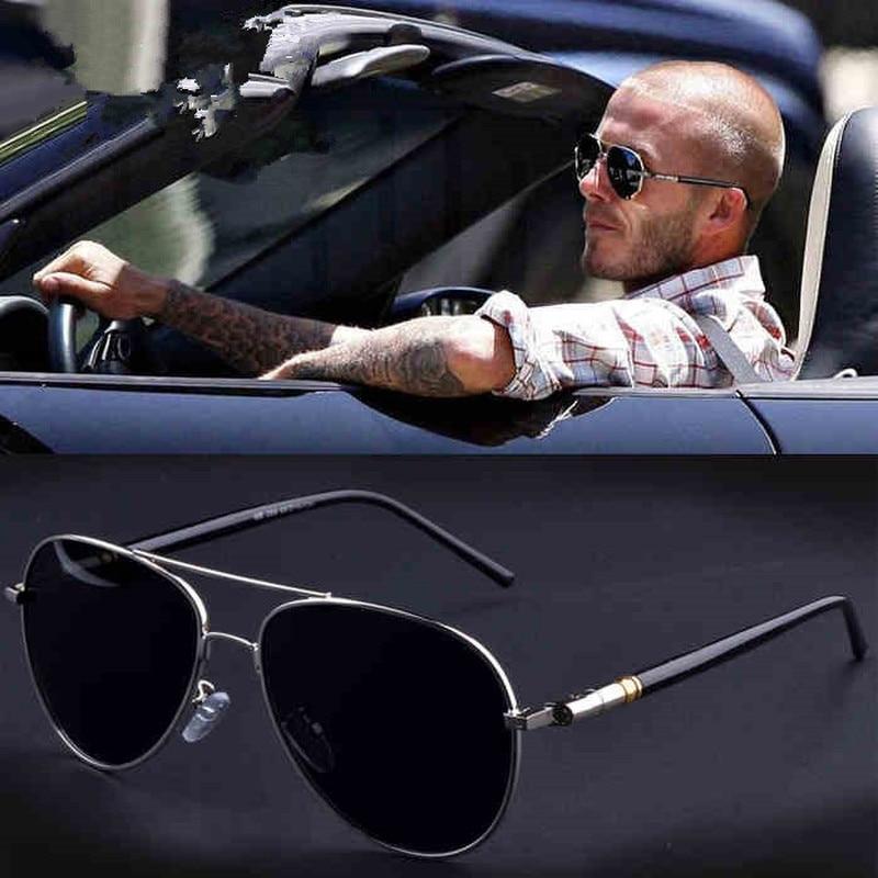 Óculos de sol polarizados masculinos de liga de perna de mola de qualidade de armação de metal de aviação óculos de sol de design de marca piloto dirigindo